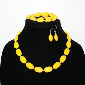 Yellow necklace bracelet and earrings set